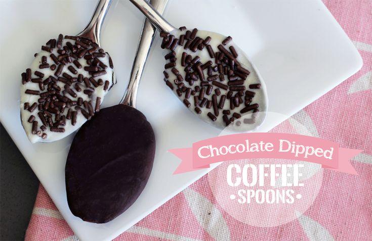 Chocolate Dipped Coffee Spoons : PepperDesignBlog.com