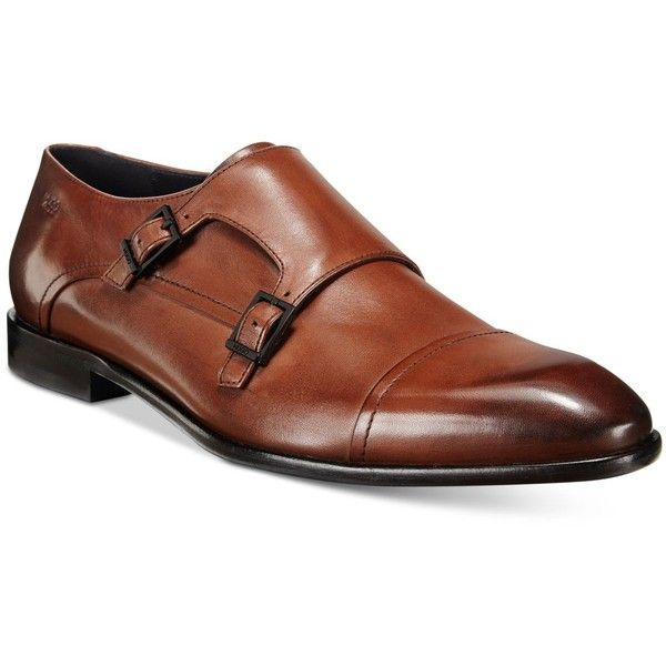 Hugo Men's Appeal Double Monk Strap Loafers ($315) ❤ liked on Polyvore featuring men's fashion, men's shoes, men's dress shoes, medium brown, mens cap toe shoes, mens brown shoes, mens dress loafers shoes, mens brown loafers and mens double monk strap shoes