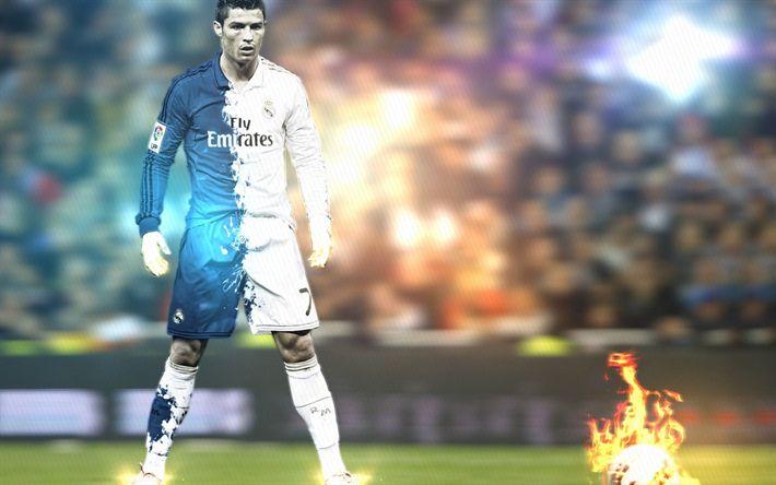 Download wallpapers Cristiano Ronaldo, 4k, football stars, neon lights, CR7, Real Madrid, soccer, Ronaldo, fire, fan art, La Liga, footballers