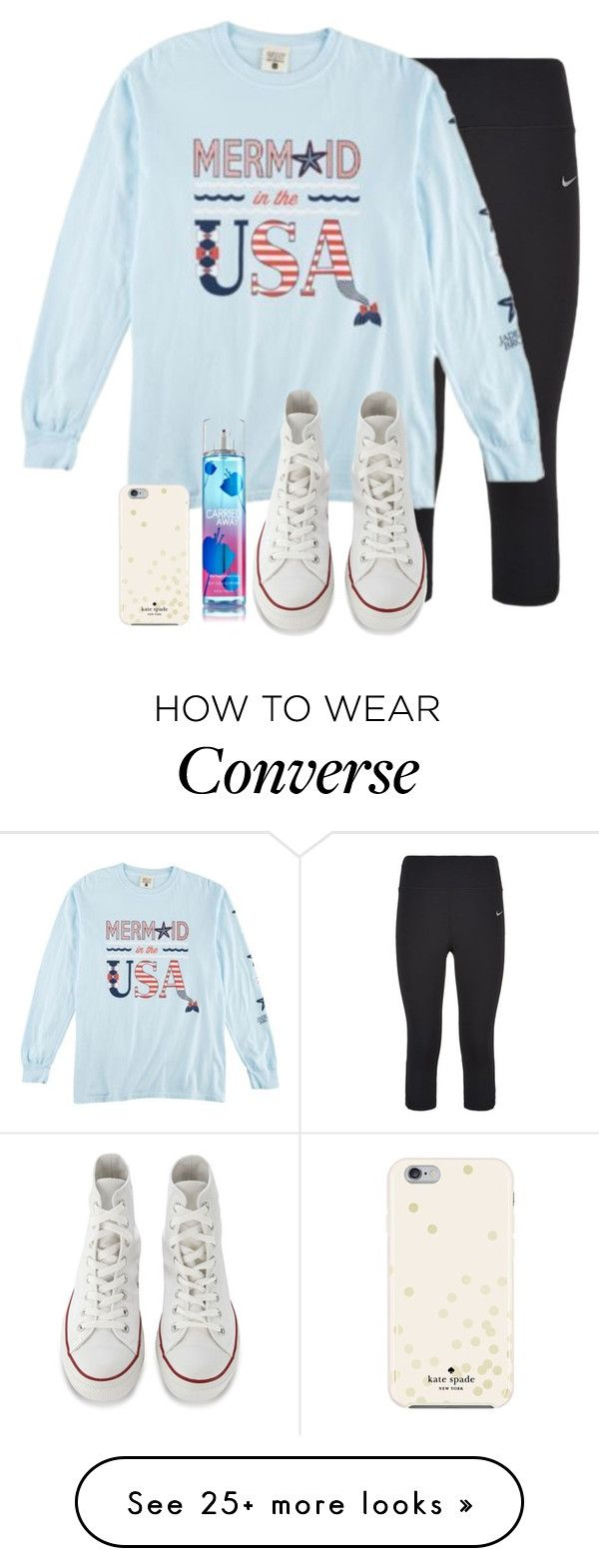 """I reeaallyy want a Jadelynn Brooke shirt"" by hailstails on Polyvore featuring NIKE, Converse, Kate Spade, women's clothing, women's fashion, women, female, woman, misses and juniors"