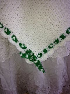 Irish Baby Blanket. White Crocheted Baby Afghan with Shamrocks Ribbon. Gender Neutral Irish Afghan. Baby Shower, Newborn, Christening Gift. by BrennansBlankets on Etsy https://www.etsy.com/listing/217483694/irish-baby-blanket-white-crocheted-baby