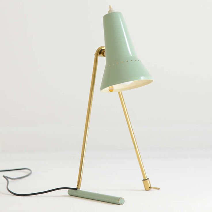 brass & enameled metal table lamp / stilnovo