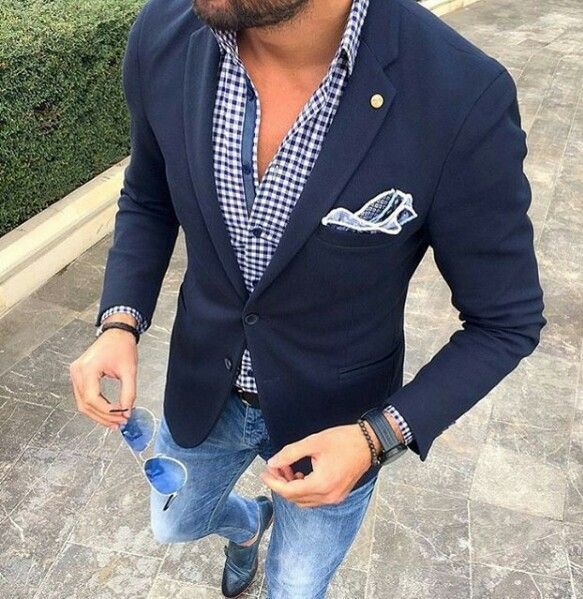 Men's jeans, jacket, and shirt