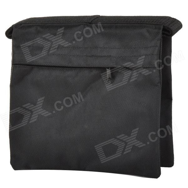 Color: Black; Shade Of Color: Black; Material: 1680D nylon; Quantity: 1 Piece; Inner Dimension: 22 x 22cm (two pockets); Dimension: 51 x 26 x 0.5 cm; Other Features: Dual-side and dual opening, dual layer with zippers; Can storage sands or stones for live cam bearing use, such as lighting arm bearing, pressure track, stable lighthouse and magic legs, and even on-site warning and other purposes; Packing List: 1 x Sandbag; http://j.mp/1ljAyn3