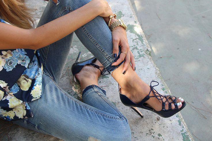 NEW ZARA #Shoes #Bloggers Fav #Blue #Navy Lace up #Heels, Size  EU40/ UK7 / US9   #zara #LaceUps