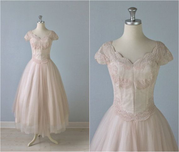 Vintage Wedding Dresses Etsy: Vintage 1950s Wedding Dress / 50s Tea Length Dress / Blush