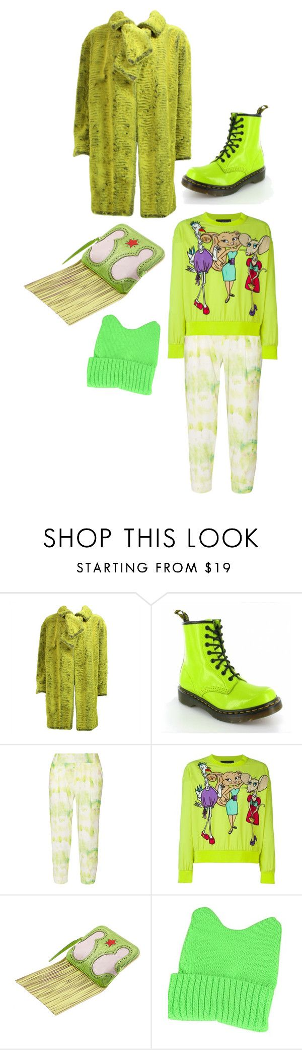 """""""Lime green cartoon"""" by perpetto ❤ liked on Polyvore featuring Christian Lacroix, Dr. Martens, Alice + Olivia, Boutique Moschino, The Volon and Emi Jewellery"""