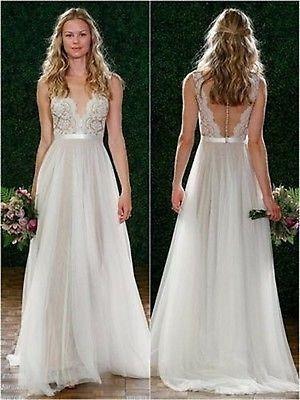 Hot Cuello V Largo Encaje Princesa Vestido De Novia De Gasa de boda de playa Vestido