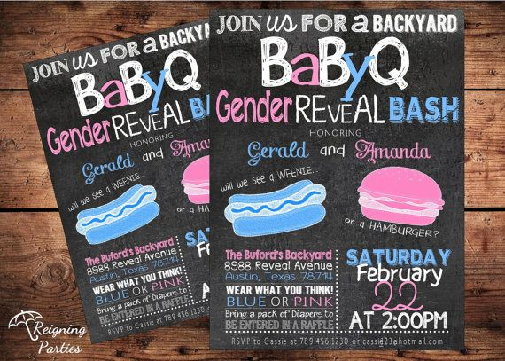 Funny BBQ Gender Reveal Invitation - He or She - Digital