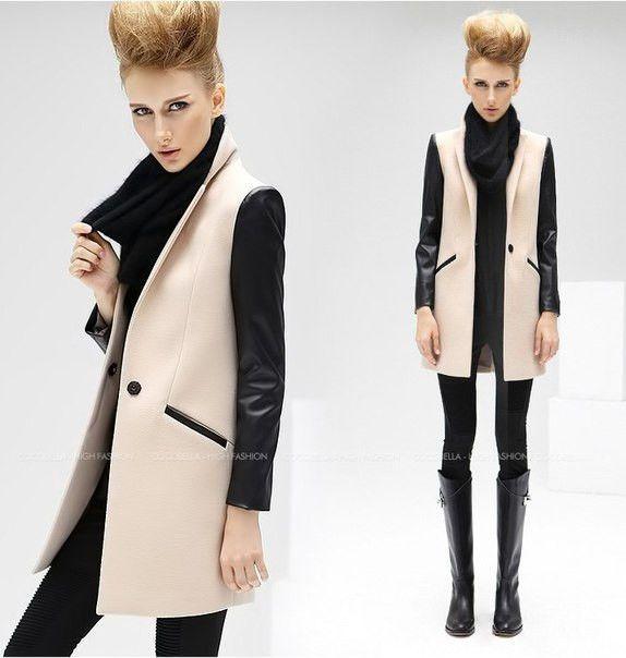 Стильное пальто с кожаными рукавами: купить в Украине, цена, отзывы. пальто…