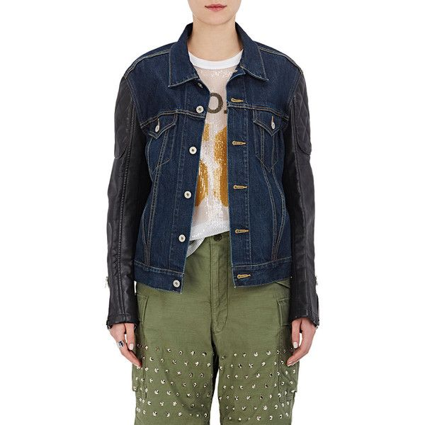 Junya Watanabe Comme des Garçons Women's Denim & Synthetic Leather... (€515) ❤ liked on Polyvore featuring outerwear, jackets, blue faux leather jacket, denim jacket, quilted jackets, elbow patch jacket and patched denim jacket