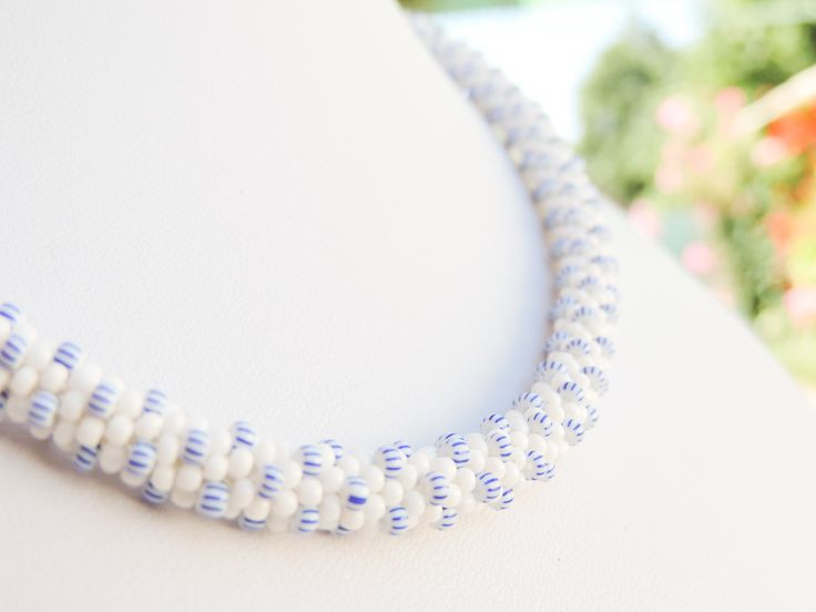 White and striped Preciosa bead crochet rope necklace - Colier cu margele albe dungate si albe Preciosa - colectia Wild Berries (170 LEI la AndiBede.breslo.ro)