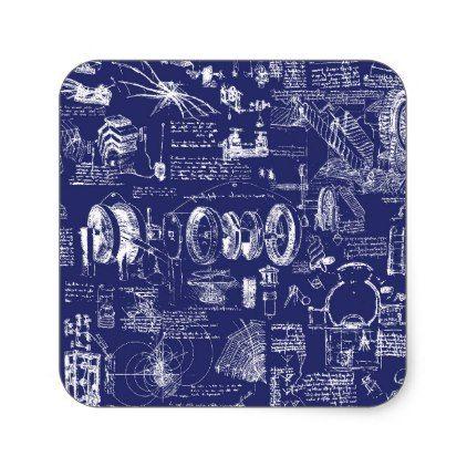 Leonardo Da Vinci's Blueprint Drawings Square Sticker - drawing sketch design graphic draw personalize
