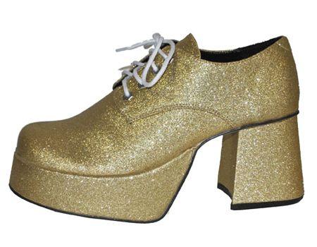 Glitter & Glamour themafeest: Glitter plateau schoenen goud. Met deze glitter plateau schoenen goud met gouden glitter, blokhakken van 8 cm en plateauzolen van 5 cm maakt u uw disco kostuum volledig af!