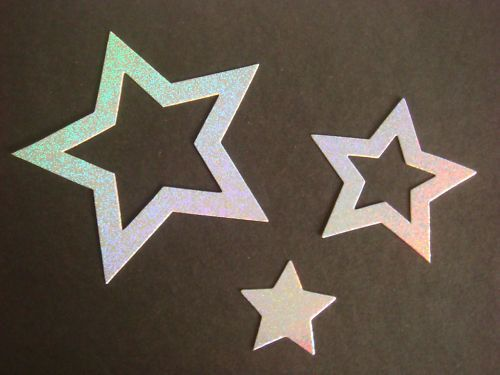 Silver holographic Nesting Stars for christmas cards/toppers die cuts for cardmaking scrapbooking craft project on Etsy, £2.25