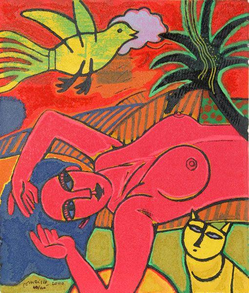 Artist: Corneille, Belgian (1922 - 2010)  Title: La Femmes de la Bible XIII  Year: 2000  Medium: Terragraph, signed and numbered in ink