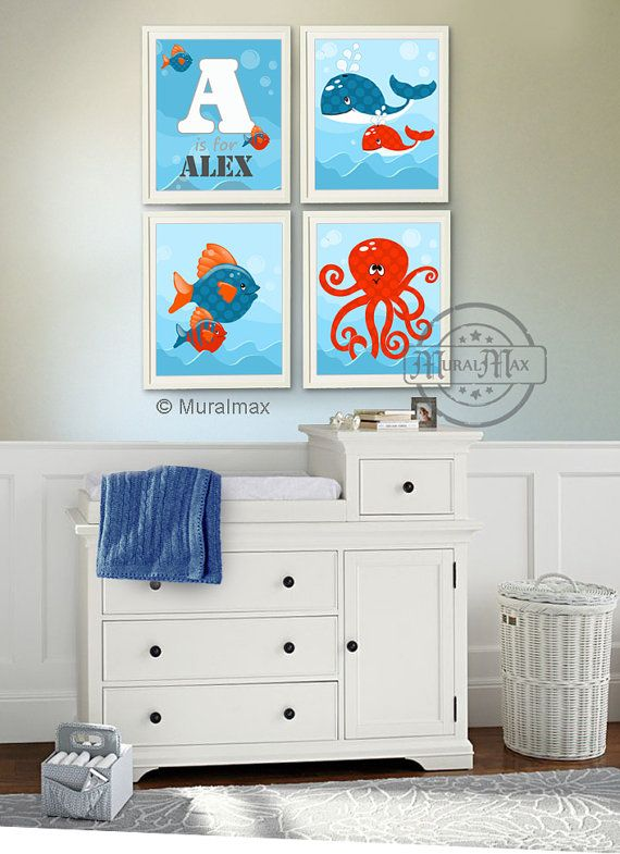 Art for Children Baby Boy Nursery Art Print Sea Fish by MuralMAX, $75.00