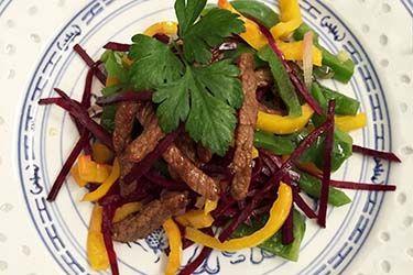 Wild venison stir-fry with tamarind chutney A pretty and super easy stir fry from Jan Bilton