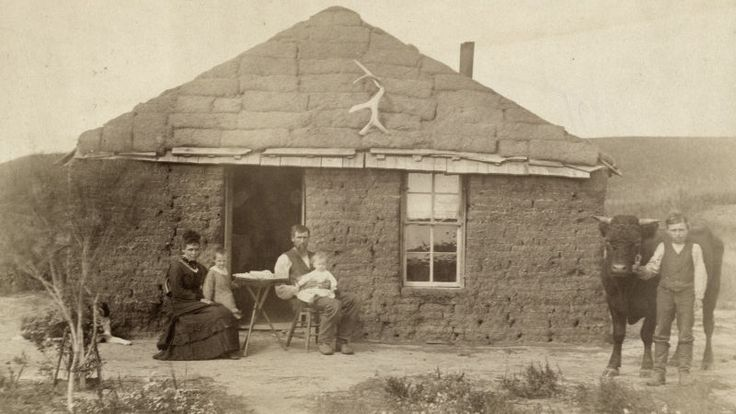 This was the reality most settlers knew. A family in front of a typical sod house, in 1886, in Nebraska, Custer County. Instead of a plush toy the boy on the right is holding a young bull. Note the ornament high on the facade.  15 Tools That Helped Pioneers Survive on the American Frontier