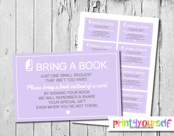 Modern Icon Bring A Book Cards for Baby Shower by Print4Yourself