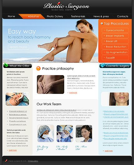 Plastic Surgeon Website Templates by Delta