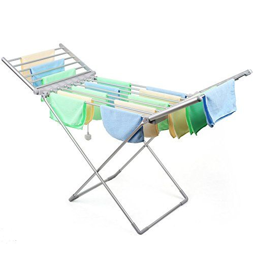 HOMFA Foldable Electric Heated Clothes Airer Dryer Aluminum for Indoor Clothes Towel
