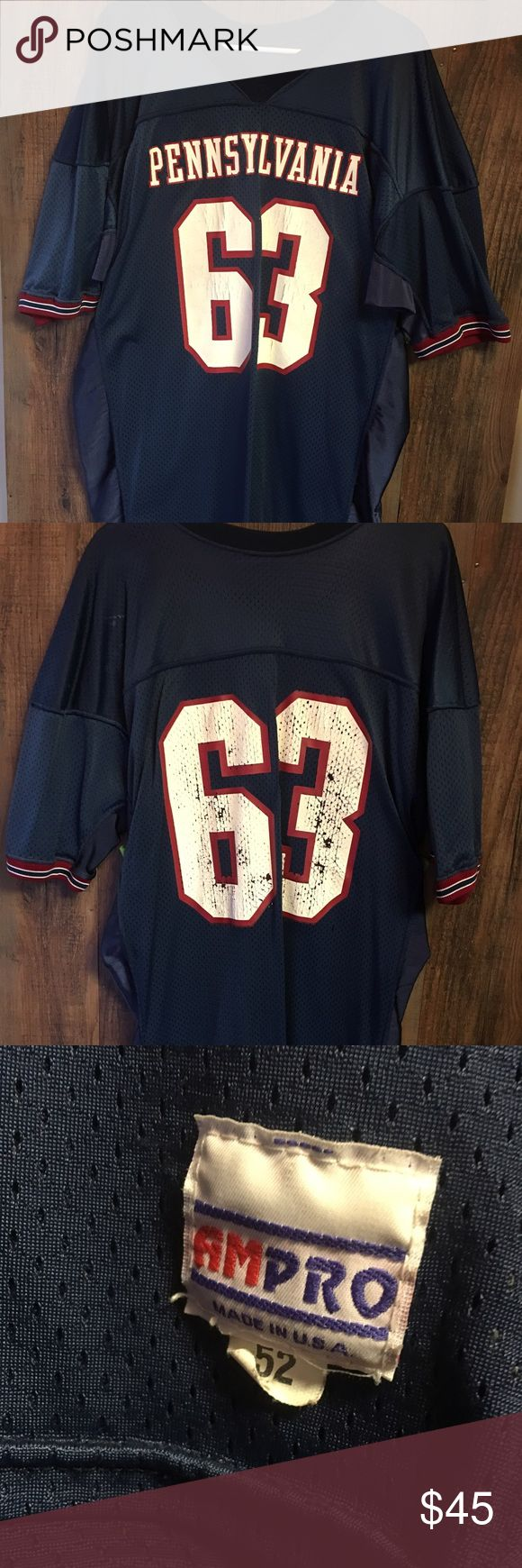 Vintage University of Penn Men's 52Football Jersey Vintage University of Pennsylvania Men's Size 52(XXL) Colloege Football Jersey. Only flaw is the numbers have some wear on them due to the age of this jersey. Jersey is over 30 years old. Made in the USA. AM Pro Shirts