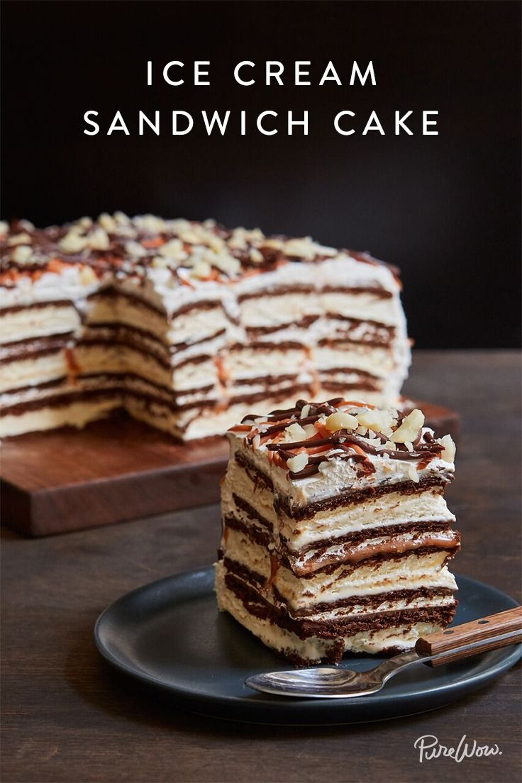 Raise your hand if you like ice-cream cake. Raise your other hand if you like ice-cream sandwiches. When you make our ice-cream sandwich cake recipe, you get to enjoy both frozen treats. Get the recipe here.