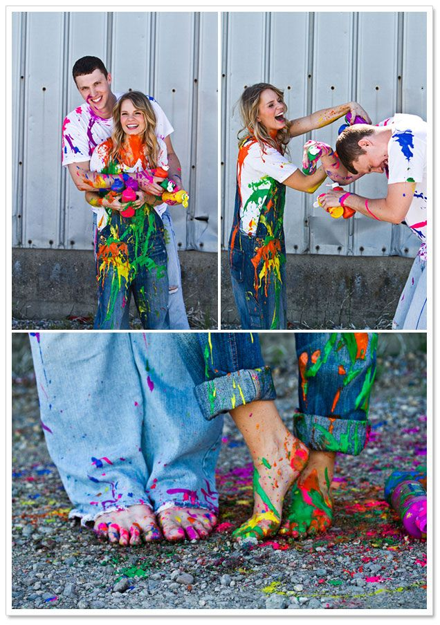 This would be so cute with red and green paint and used for A Christmas picture. Paint War Engagement Session by Yvonne Denault Photography