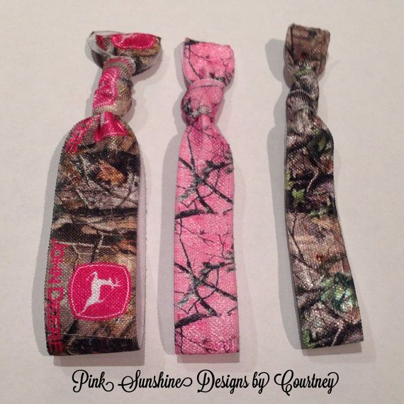 Pink Camo, John Deere Hot Pink and Camo and Brown and Green Camo Elastic Hair Ties on Etsy, $5.00