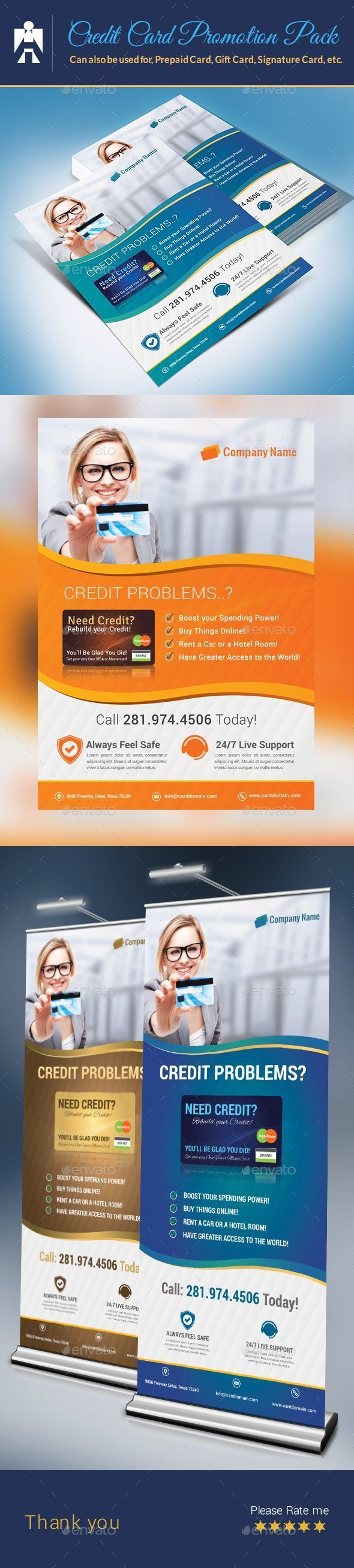 Credit Card Promotion Pack Flyer and Roll-Up Templates PSD #design Download: gra...