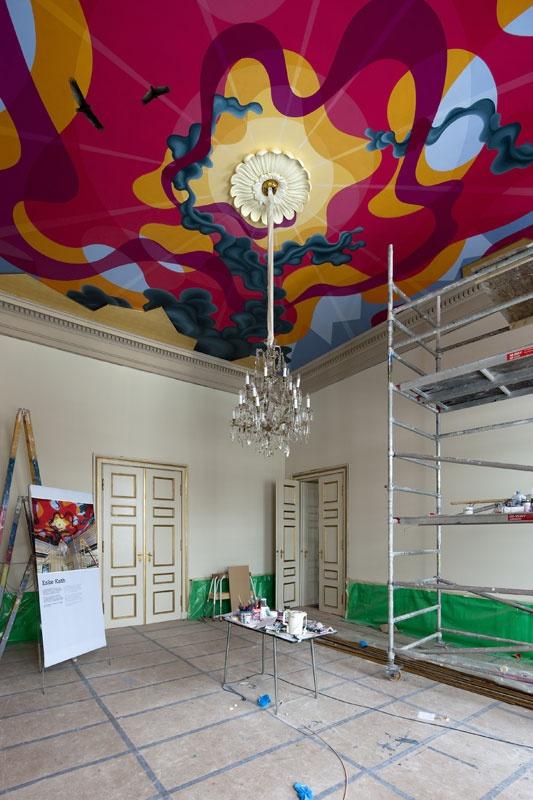 Eske Kath's ceiling art in the office at the Royal Castle Amalienborg. Photo: Torben Eskerod