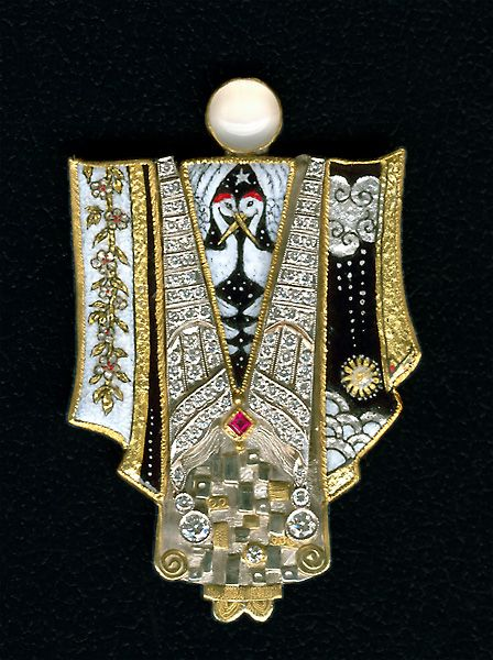 marianne hunter -vitreous enamel on gold with diamonds and pearl.