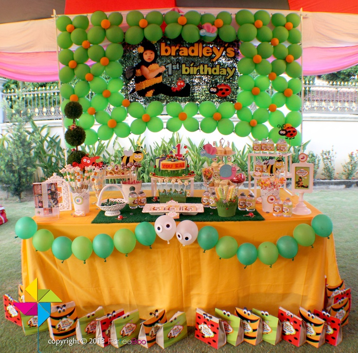 Backdrop Amp Dessert Candy Table For A Little Bugs Themed