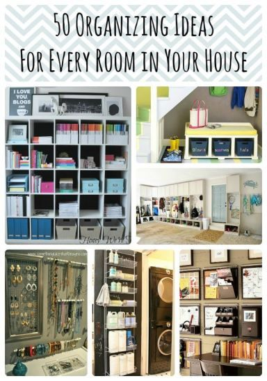 50 Organizing Ideas for Every Room in Your Home including bedroom and kitchen space