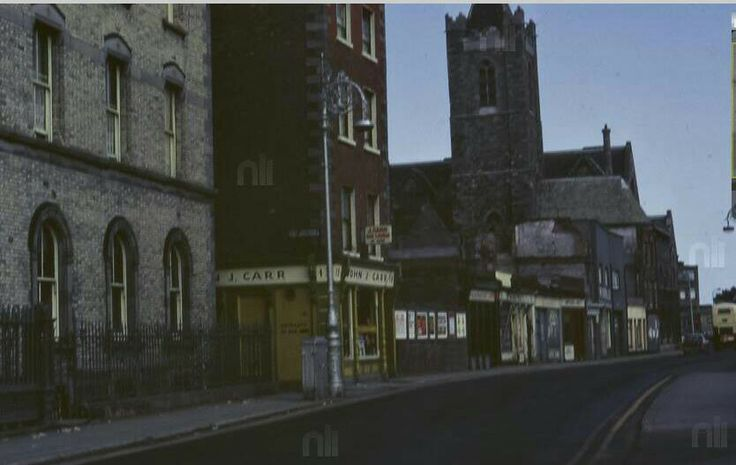 High Street, Dublin 1970's, looking east, before the street alignment was changed. All the building on left before the church have been demolished.