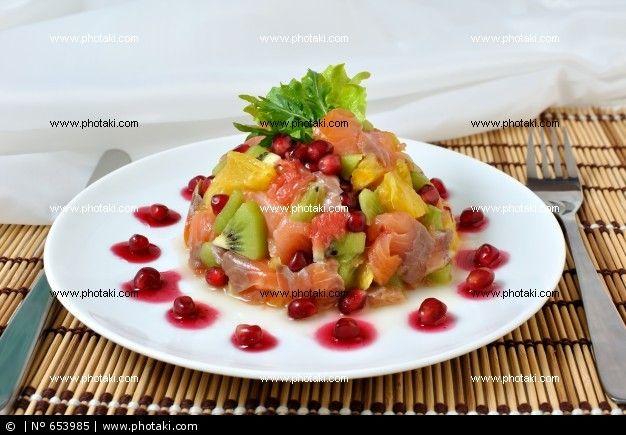 Salmon and fruit salad