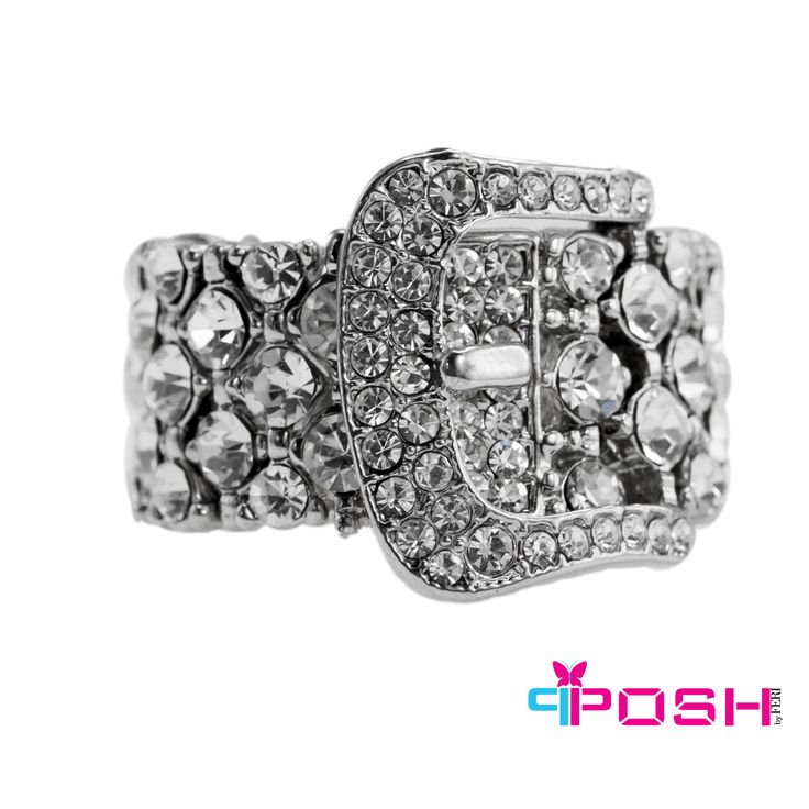 "Brigit - Ring.     - Stretch ring - Silver tone metal with white crystals - Belt buckle design in centre - Dimension: 0.79"" width - Stretch ring will fit most sizes  POSH by FERI - Passion for Fashion - Luxury fashion jewelry for the designer in you.  #Jewellery   #rings"