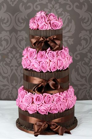 Chocolate with hot pink flowers, stunning!