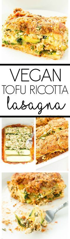 "The BEST 'Vegan Tofu Ricotta Lasagna' so healthy, yet tastes like the real deal. Hearty, easy to make, packed with veggies + an unbelievable ""tofu ricotta"" filling. Plant based comfort food! #vegan #lasagna #zucchini #tofu"