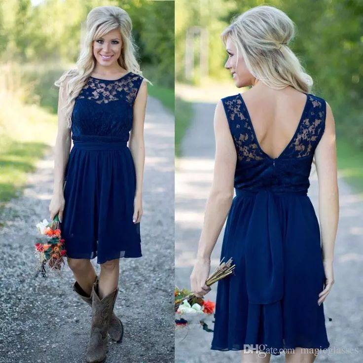 Country Style 2017 Newest Royal Blue Chiffon And Lace Short Western Bridesmaid Dresses For Weddings Cheap Backless Knee Length Casual Wedding Party Dresses White Bridesmaid Dresses From Magicglasses, $80.13| Dhgate.Com