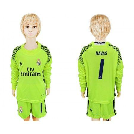 Real Madrid Trøje Børn 16-17 #Navas 1 målmand Grøn Trøje Lange ærmer.199,62KR.shirtshopservice@gmail.com