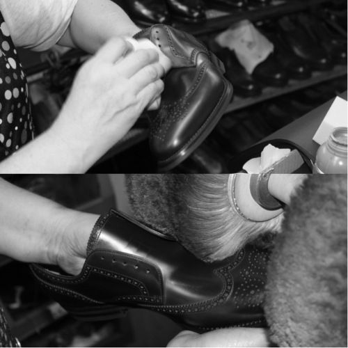 The final stage concerns the polishing. Each shoe is antiqued and polished by hand to create an intense depth of color on the leather. #franceschetti handmade shoes Made in Italy