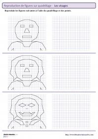8 fiches avec chacune 3 visages à reproduire sur quadrillage ou à l'aide de points pour travailler le repérage et les tracés au cycle 3.