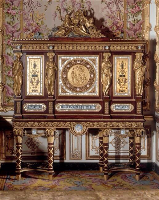 Marie Antoinette's jewelry case dating 1787 in Marie Antoinette's official bedchamber in Versailles Palace
