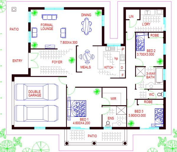 house design 3 bed + 2 bathroom + formal lounge + double ...