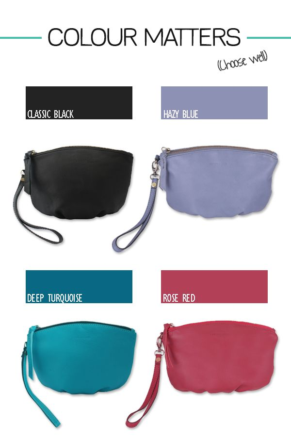 A pop of colour with these little pouches (the perfect wristlet for a night out, the essential bag for all your needs). $59