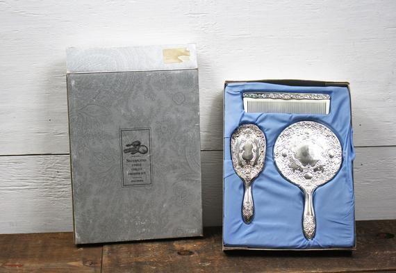 Vintage Child S 3 Piece Dresser Set Silverplated Original Box