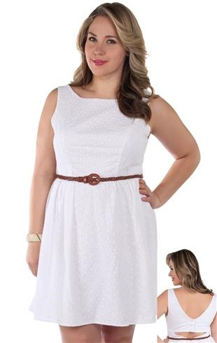 Deb Shops #ivory plus size back cut out belted day #dress
