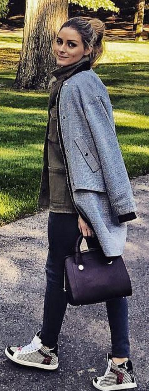 Olivia Palermo in Jacket – Topshop  Purse and shoes = Max & Co.  Pants – J Brand